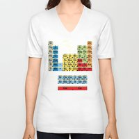 periodic table V-neck T-shirts featuring Periodically Fictional Table by AMO Design
