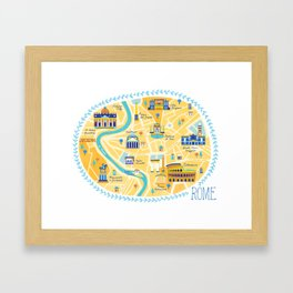 Rome Map Framed Art Print