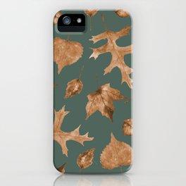 Autumn Elements Pattern (Copper&Sage) iPhone Case