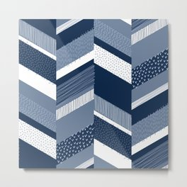 Chevron with Textures / Denim Blue and White Metal Print