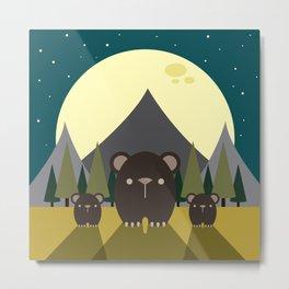 Moonlight Bear Family Metal Print