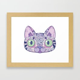 Chromatic Cat II (Purple, Blue, Pink) Framed Art Print