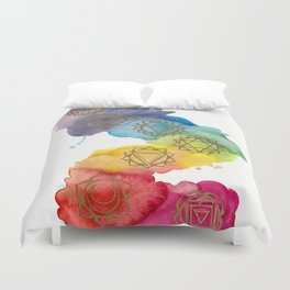7 Chakras Watercolour Painting Duvet Cover