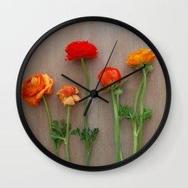 Orange Ranunculus flowers Wall Clock