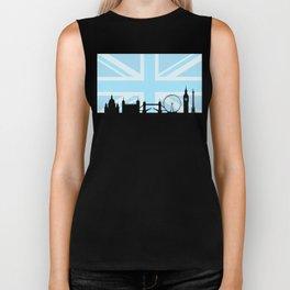 London Sites Skyline and Blue Union Jack/Flag Biker Tank