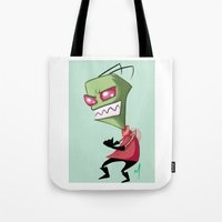 invader zim Tote Bags featuring Invader Zim by Maxine Art