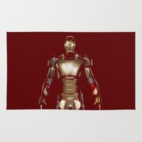 iron man Area & Throw Rugs featuring Iron Man  by George Hatzis