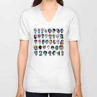 60s V-neck T-shirts featuring Heads by Alvaro Tapia Hidalgo