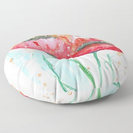 Poppy flowers no 4 Summer illustration watercolor painting Floor Pillow