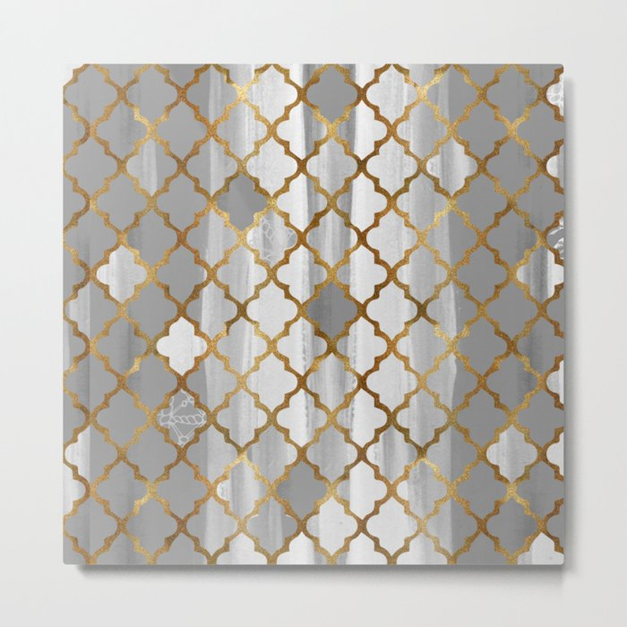 Moroccan Tile Pattern In Grey And Gold Metal Print