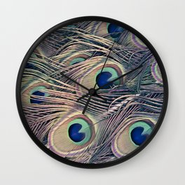 Beautiful Painted Peacock Feathers Wall Clock