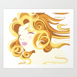 Elemental Women Vector Vintage Art: Clean Beautiful Air Girl Art Print