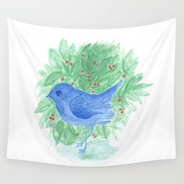 Blue bird and shrub watercolor painting Wall Tapestry