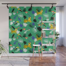 Tropical leaves, Rainforest tigers and toucans Wall Mural
