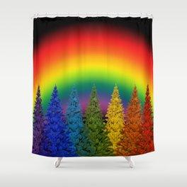 Rainbow Christmas Shower Curtain