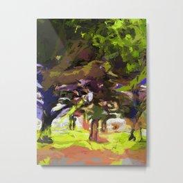 Tree Avenue Orange Green Indigo Blue Metal Print