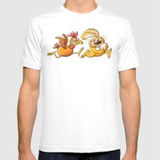 Easter Bunny Stealing an Egg from a Furious Hen White MEDIUM Mens Fitted Tee