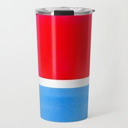 Colorful Bright Minimalist Rothko Midcentury Modern Art Vintage Pop Art Neon Red Cerulean Blue Travel Mug