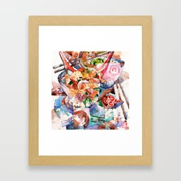 A bowl of Fishball noodle Goodness! Framed Art Print