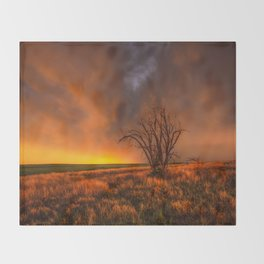 Fascinations - Warm Light and Rumbles of Thunder in Oklahoma Throw Blanket
