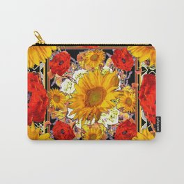ORANGE-RED POPPIES DECORATIVE SUNFLOWERS FLORAL Carry-All Pouch