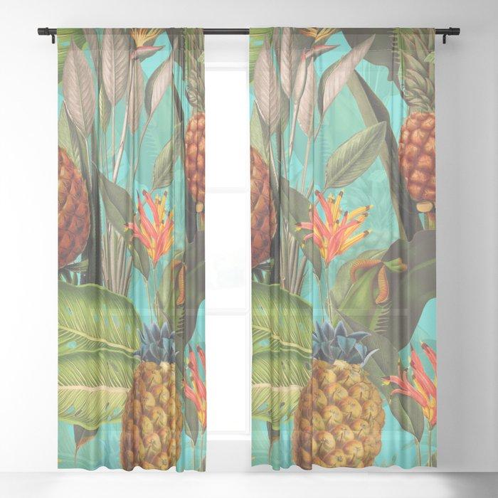 Vintage & Shabby Chic - Pineapple Tropical Garden Sheer Curtain