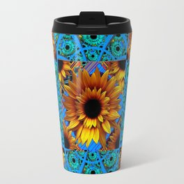 AWESOME BLUE & GOLD SUNFLOWERS  PATTERN ART Travel Mug