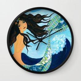 Mermaid, Summer, Sea and Waves Wall Clock