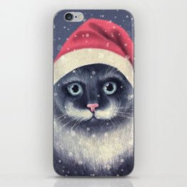 Christmas cat with a mustache iPhone Skin