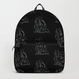 Military Serviceman Kneeling Warrior Tribute Illustration Backpack