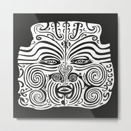 Maori Moko | Tribal Tattoo | New Zealand | Black and White | Metal Print