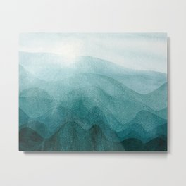 Sunrise in the mountains, dawn, teal, abstract watercolor Metal Print