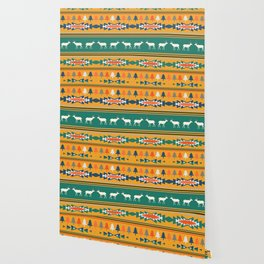 Ethnic Christmas pattern with deer Wallpaper