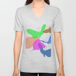 Colorful butterflies on white background Unisex V-Neck