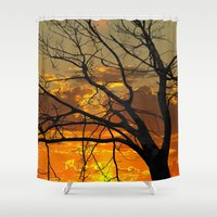jewish Shower Curtains featuring Sunset Tree by Brown Eyed Lady