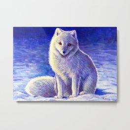 Peaceful Winter Arctic Fox Metal Print