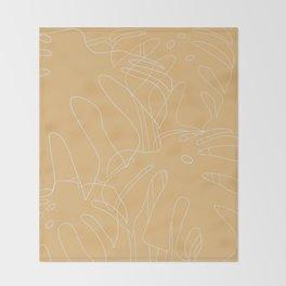 Monstera No2 Yellow Throw Blanket