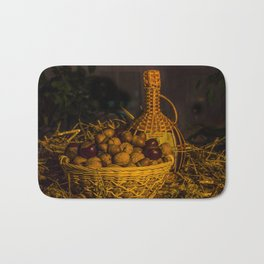 Still-life with nuts and wine Bath Mat