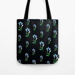 Blue green neon flowers on black Tote Bag