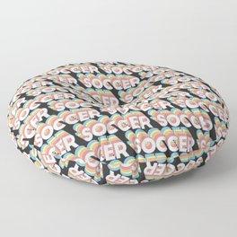 Soccer Trendy Rainbow Text Pattern (Black) Floor Pillow