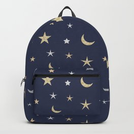 Gold and silver moon and star pattern on navy blue background Backpack
