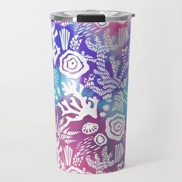 Nautical pink teal violet watercolor coral floral pattern Travel Mug