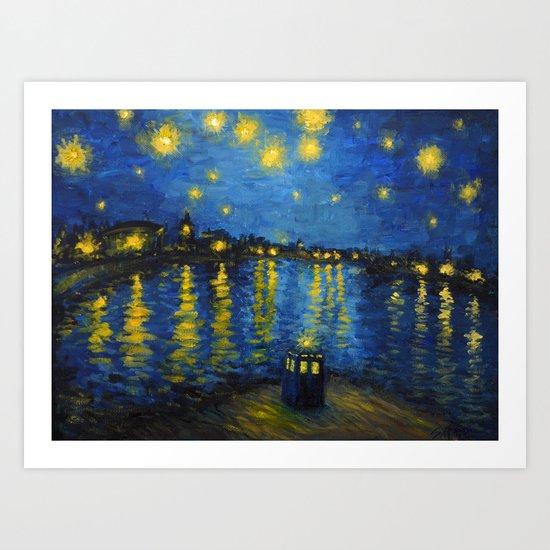 Starry Night Over Cardiff Bay Art Print