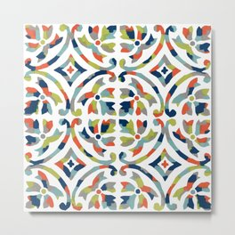 Painterly Tile Pattern Metal Print