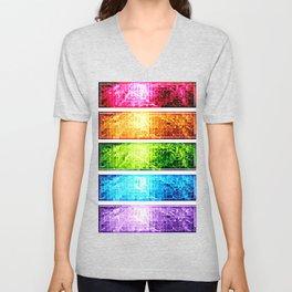 Rainbow Nebula Pixels Panel Art Unisex V-Neck