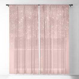 Glamorous Pink Rose Gold Glitter Striped Gradient Sheer Curtain