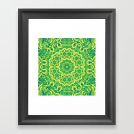 mystic mandala in green and yellow Framed Art Print