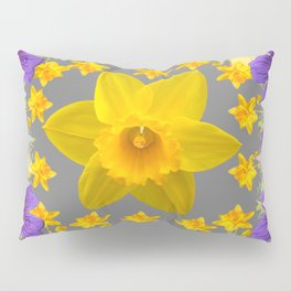 SPRING PURPLE  FLOWERS DAFFODIL ART DESIGN Pillow Sham