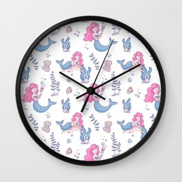 Hand painted  pink blue lilac nautical mermaid pattern Wall Clock