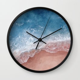 Pink Beach with Blue Waves Wall Clock